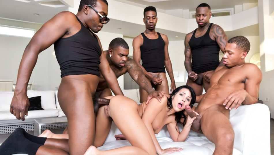 Darkx Horny Adriana has her first ever interracial gang bang.