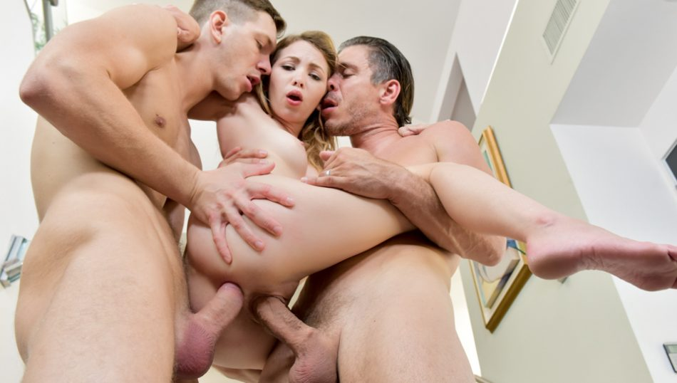 Tiny Angel Smalls gets two dicks to fill her holes