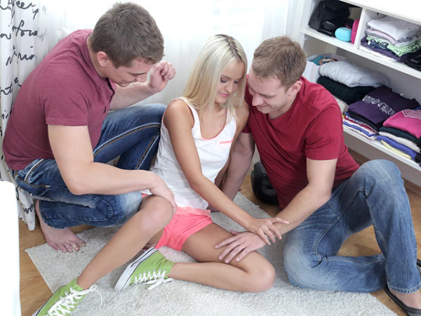 Veronika felt heavenly with one dick in hand and her spoiled virgins pussy being eaten
