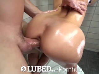 LUBED Shower fuck and facial with tiny blonde Kenzie Reeves